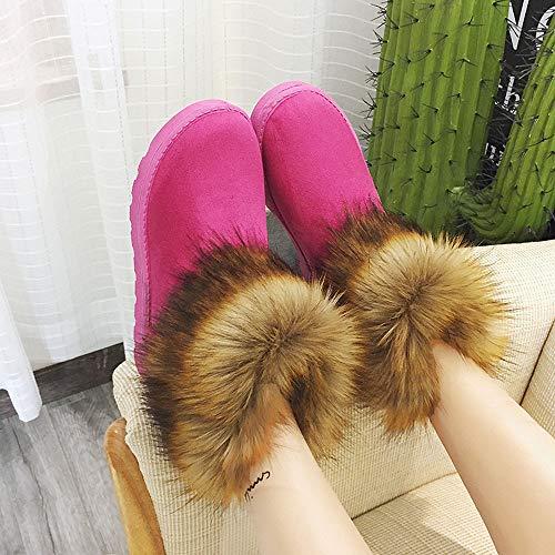 Courtes Rose Chaudes Hiver Femmes Dames Merical Martin Bootie Snow Chaussures Vif Bottes vwx41