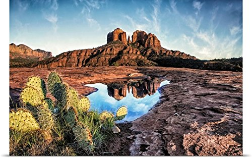 GREATBIGCANVAS Entitled Cathedral Rocks with Reflection at Sunset in Sedona, Arizona Poster Print, 36