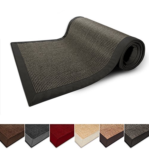 casa pura Natural Fiber Runner, Sisal | Non Slip Backing, Wide Border | 2.6'x9' | Grey | 3 Sizes, 5 Colors (Rubber Floor Edging Trim compare prices)