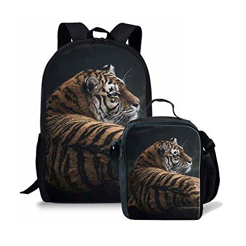Children's Animal Print School Bag Set 2 Piece for Kids Boys Girls Backpack Book bag with Lunch Bag (Tiger)