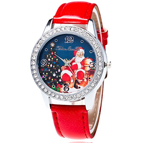(Souarts Womens Artificial Leather Christmas Father Santa Claus Tree Quartz Analog Wrist Watch 22cm Red)