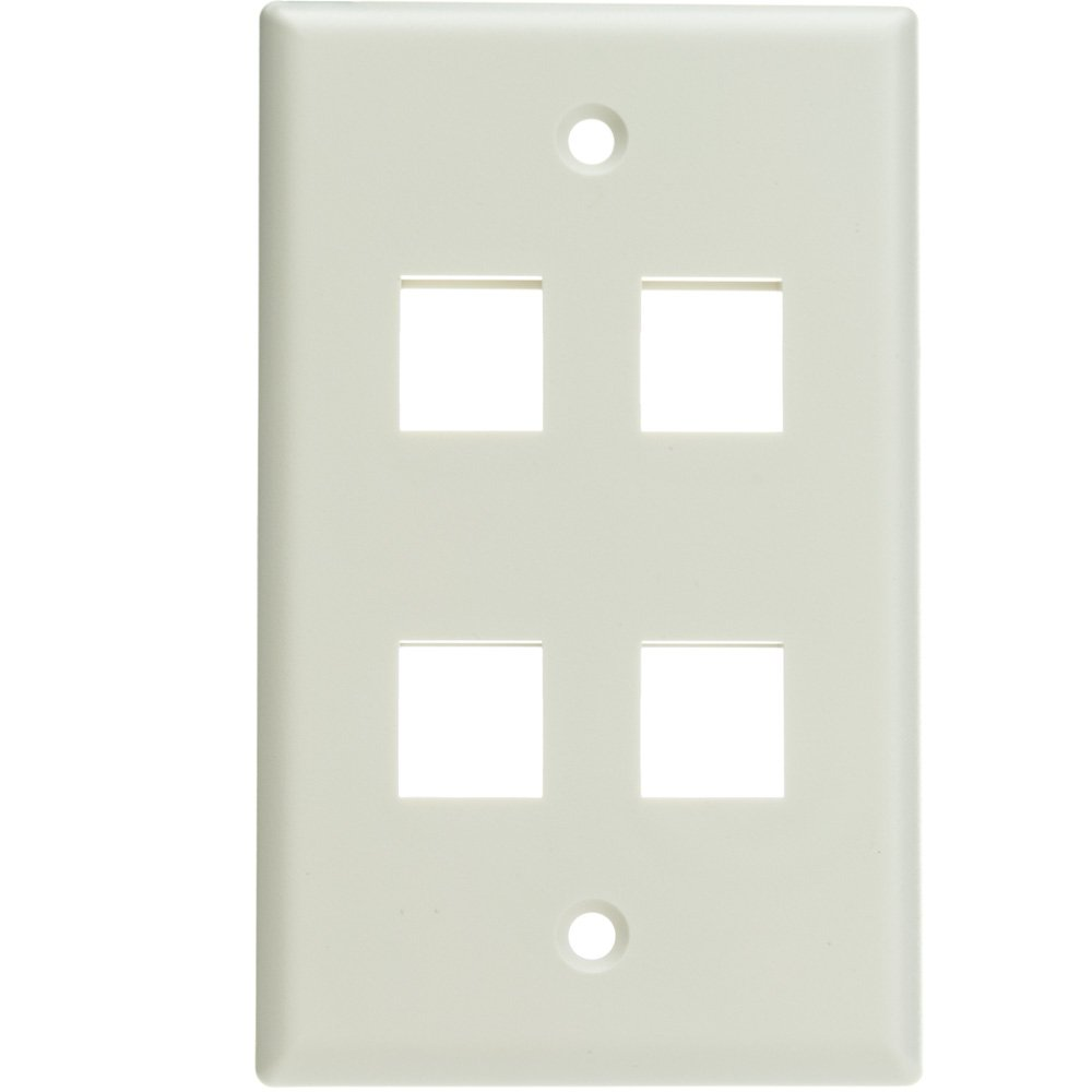 ACL Keystone 4 Port, Single Gang Wall Plate, White, 100 Pack by ACL