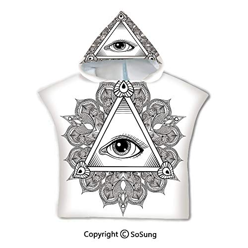Eye Toddler Hooded Beach Bath Towel,Vintage All Seeing Eye Tattoo Symbol with Boho Mandala Providence Spirit Occultism,1-7 Years Old Microfiber Bath Robe,Black White,for Beach Pool Shower