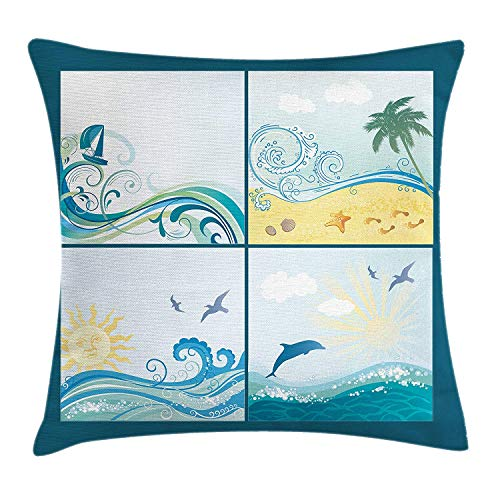 Beach Throw Pillow Cushion Cover, Maritime Themed Frames with Waves Sun Trees Dolphins Birds Exotic Sea Pattern, Decorative Square Accent Pillow Case, 18 X 18 Inches, Blue Beige ()