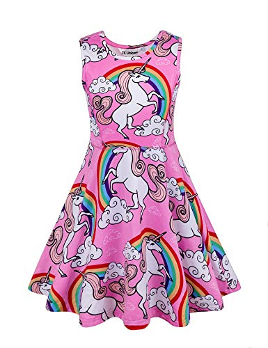 Price comparison product image Unicorn Dress Girls Unicorn Party Supplies Rainbow Unicorn Girls Dresses Unicorn Toys Shirt Pink 140