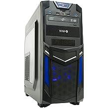 VIVO ATX Mid Tower Computer Gaming PC Case / Black Blue Desktop Shell / 3 Fan Mount, Dual USB 3.0 (CASE-V03B)