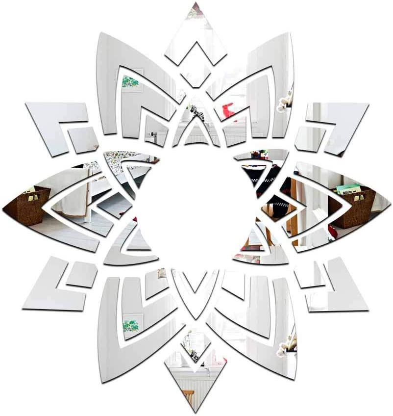 Amazon Com Diy Fashion Ceiling Flowers Wall Art 3d Acrylic Mirror Wall Sticker Mirrored Decorative Stickers Living Room Bedroom Home Decor Adesivo De Parede Silver Home Kitchen