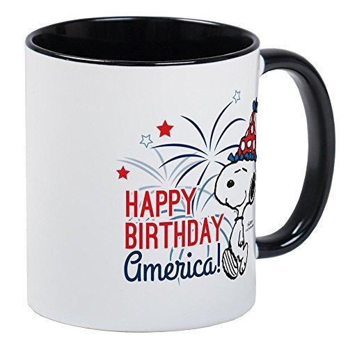 Fireworks Mug - CafePress Snoopy - Happy B-Day America Mug Unique Coffee Mug, Coffee Cup