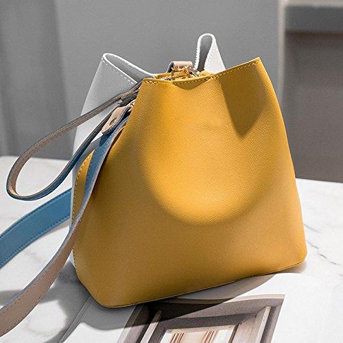 Tote Messenger Couture Sac Casual 3 Couleur main Disponibles ZCM Sac Épaule Mosaïque Mode jaune Nouveau Seau Sacs Sac Dumplings Femmes Le à Couleurs x674wqz