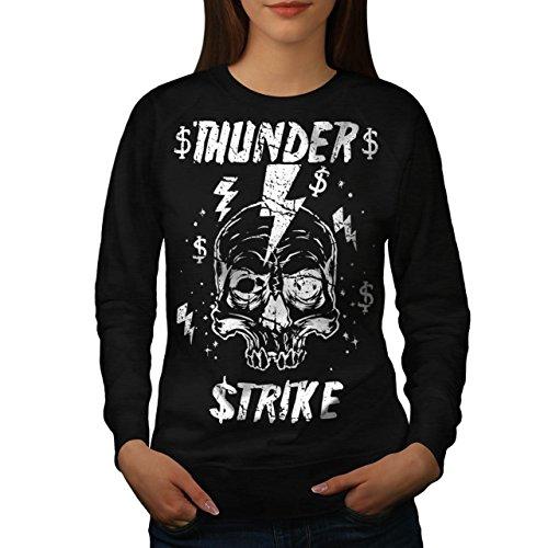 [Skull Thunder Strike Lightning Women NEW L Sweatshirt | Wellcoda] (Thunder Lightning Costume)