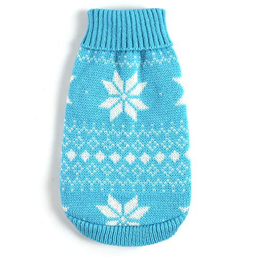 Dog Sweater Dog Turtleneck Blue Snow for Winter Warm Pet Sweaters XL