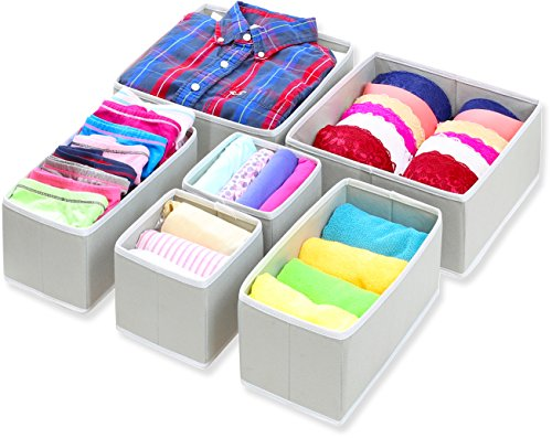 Simple Houseware Foldable Cloth Storage Box Closet Dresser Drawer Divider Organizer Basket Bins for Underwear Bras, Gray (Set of 6)