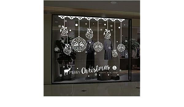 MIRRAY Tienda de Navidad Ventana Decoración de Pared Pegatinas Desmontables Campanas de Navidad Ciervos: Amazon.es: Hogar