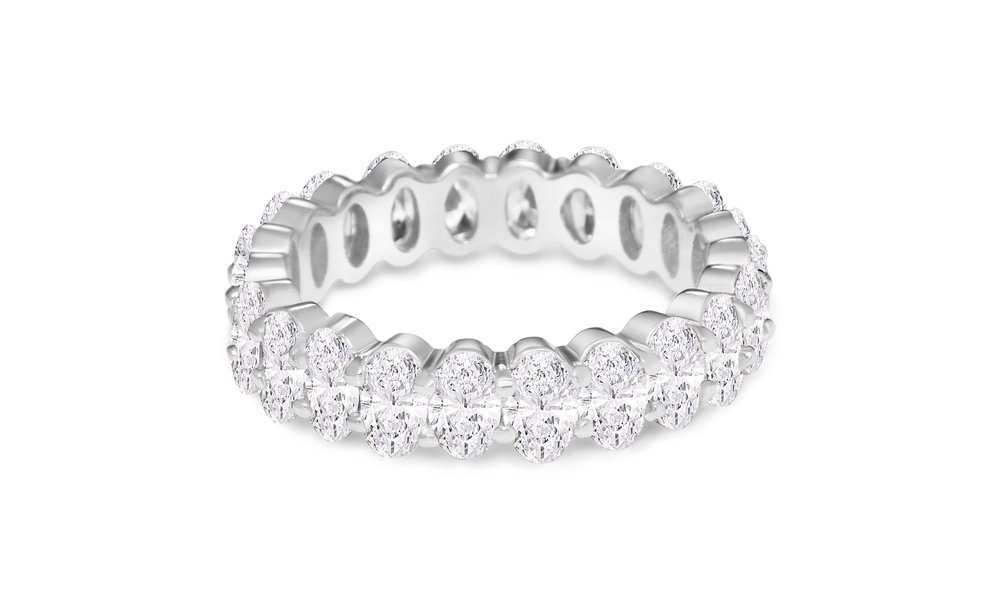 NYC Sterling Women's .925 Silver Cubic Zirconia 5x3mm Oval-Cut Eternity Band Ring (sterling-silver, 7)