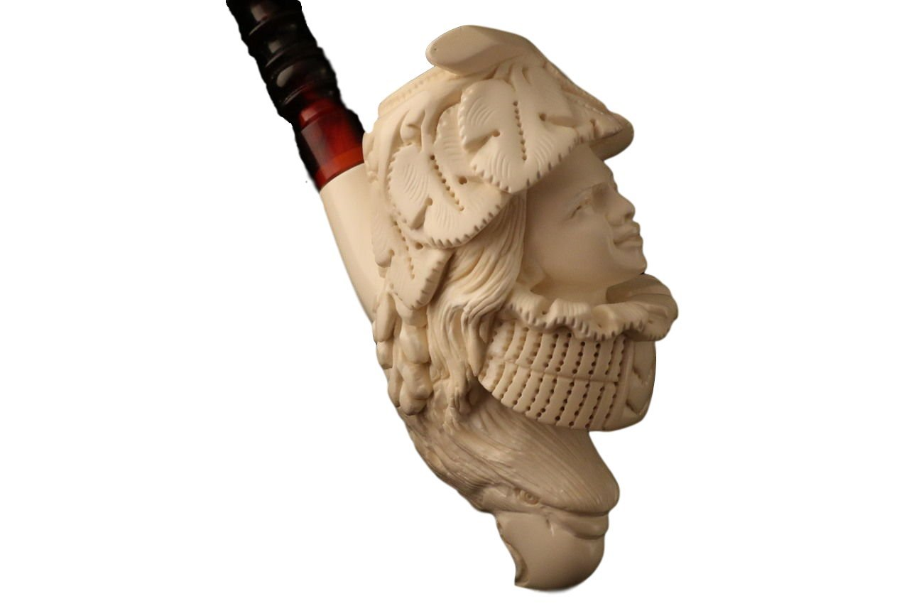 Meerschaum Pipe - Lady Bacchus from Master Carver E. Cevher - Tobacco Smoking Pipe Hand Made from the Finest Block Meerschaum - New