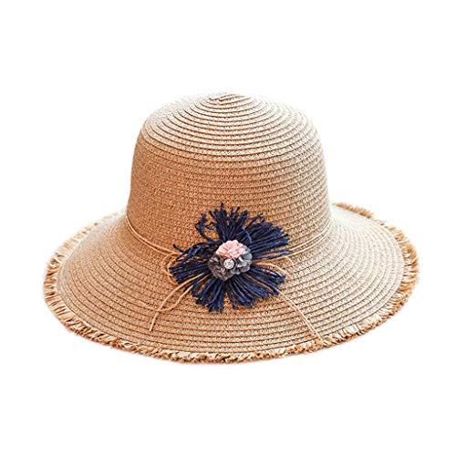 YAPOLO- Womens Summer Sun Protection Beach Hat Flowers Seaside Holiday Sun Hat