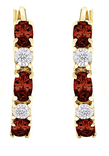 Valentine's Day Gifts Red Simulated Garnet & White Natural Diamond Snap Closure Hoop Earrings In 925 Sterling Silver from Jewel Zone US