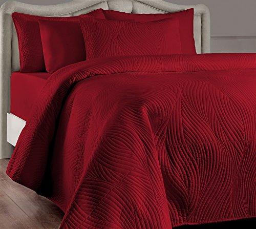 Brielle Stream Quilt and Sham Set, Twin, Red (Red Quilt Cover Sets)