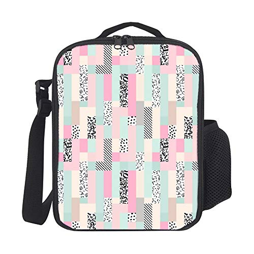 SARA NELL Kids Lunch Box Lunch Backpack Geometric Music Notes Number Stripe Animal Skin Pink Green Black Lunch Bag Large Lunch Boxes Cooler Meal Prep Lunch Tote With Shoulder Strap For Boys Girls