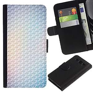 SAMSUNG Galaxy S3 III / i9300 / i747 Modelo colorido cuero carpeta tirón caso cubierta piel Holster Funda protección - Yellow 3D Polygon White Minimalist Clean