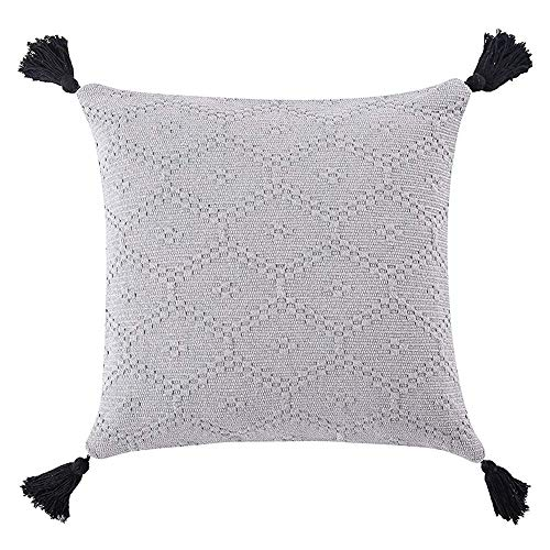 (blue page Hand Woven Gray Pillow Cover Ethnic - Throw Pillow Cushion Covers with Tassels Bohemian Style Decorative Pillow Case for Home, Bed, Room, Couch, Car Decor Square Pillowcase(17