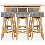 Tidyard Bar Set 7 Pieces Poly Rattan Solid Acacia Wood Indoor Outdoor Weather-Resistant