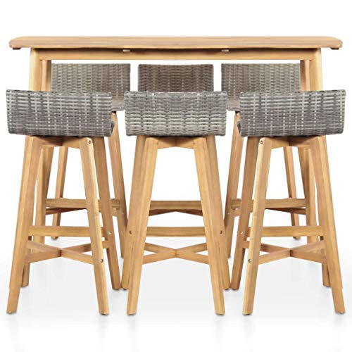 (Tidyard Bar Set 7 Pieces Poly Rattan Solid Acacia Wood Indoor Outdoor)