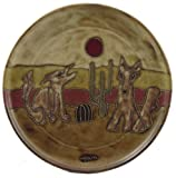 """MARA STONEWARE COLLECTION - 12"""" Round Collectible & Functional Abstract Art Dinner Serving Plate - Coyote Desert Cactus"""