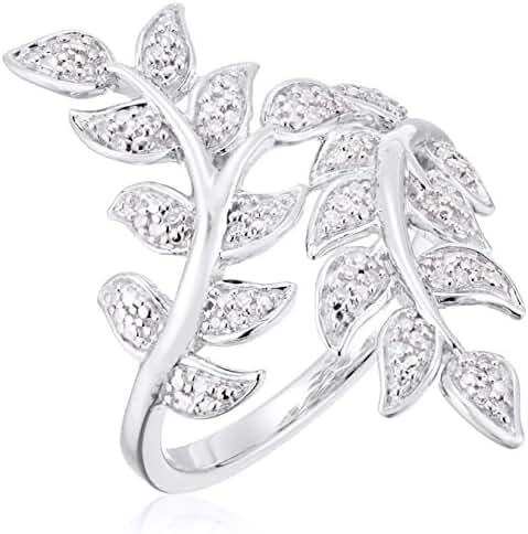 14k Plating Over Sterling Silver Diamond Leaf Shaped Ring (1/10cttw, I-J Color, I2-I3 Clarity)