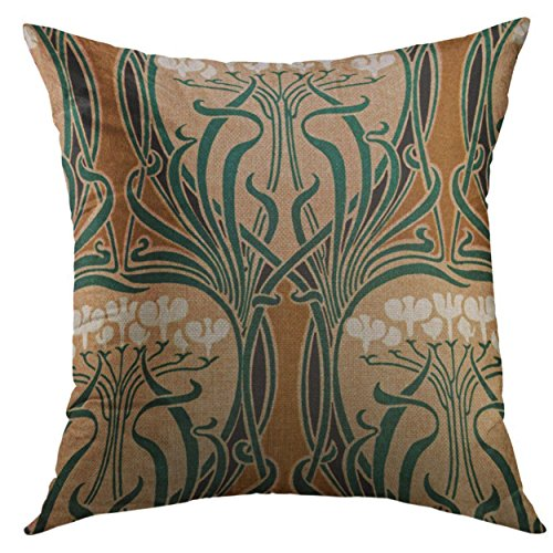 Mugod Decorative Throw Pillow Cover Floral Vintage Nouveau Design Arts Home Decor Pillow case 18x18 Inch