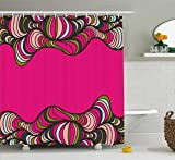Black and Hot Pink Shower Curtains Trippy Shower Curtain by Ambesonne, Wavy Psychedelic Borders Framework Curled Bold Stripes Abstract Horizontal, Fabric Bathroom Decor Set with Hooks, 75 Inches Long, Hot Pink Green Black