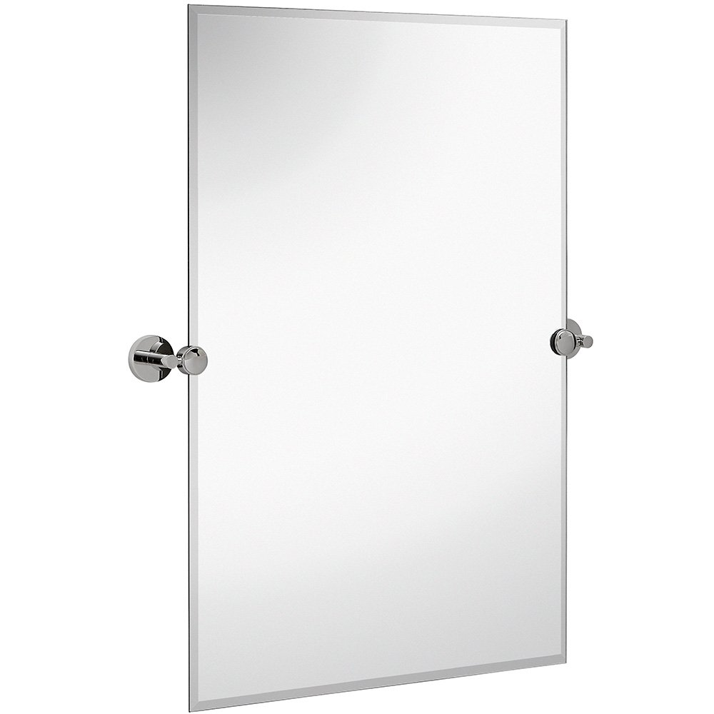 Hamilton Hills Large Pivot Rectangle Mirror With Polished Chrome Wall Anchors | Silver Backed Adjustable Moving & Tilting Wall Mirror | 20'' x 30'' Inches