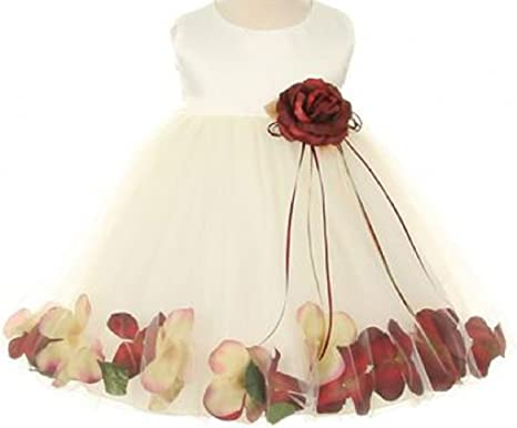 0868983a4df BluNight Collection Infant Toddler Baby Girl Dress Satin Bodice Petal  Pageant Flower Girl Dress (19KD5B