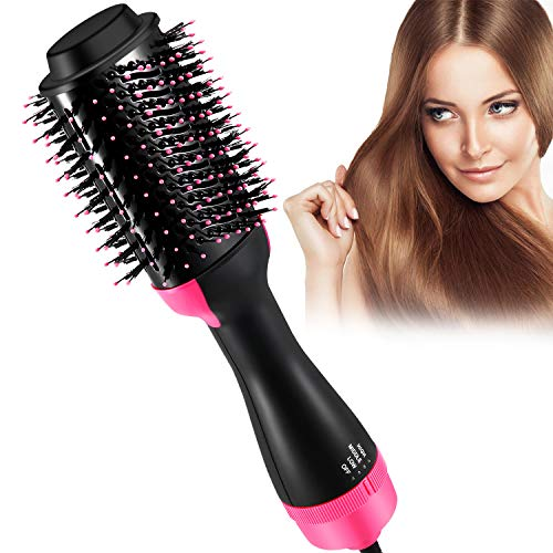 Hot Air Brush, Blow Dryer Brush, One Step Hair Dryer & Volumizer, Ceramic Electric Blow Dryer, 3 in1 Styling Brush Styler (Black/Pink)