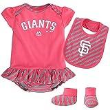 Outerstuff San Francisco Giants MLB Majestic Infant Pennant Creeper, Bib & Bootie Set