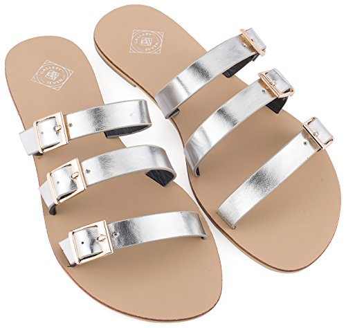 Gallery Seven Slide Sandals For women, Tri-Strap Buckle slide sandals In A Gift Box