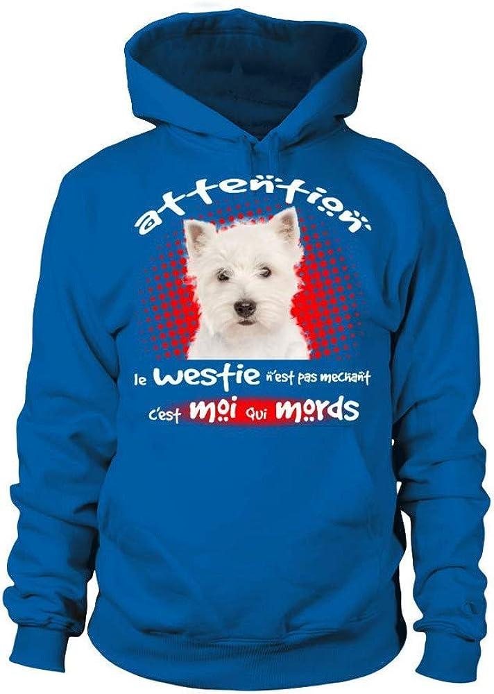 TEEZILY T-Shirt Femme Attention Mon Amstaff n/'est Pas m/échant c/'est Moi Qui mords