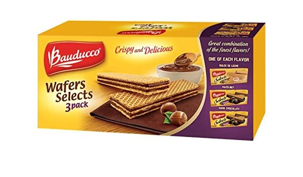 Amazon.com: Bauducco Wafer Selects 3 Pack - Hazelnut, Dulce de Leche & Dark Chocolate, 17.47 oz. Boxes of Delicious Uniquely Flavored Wafer Cookies (8 - 3 ...