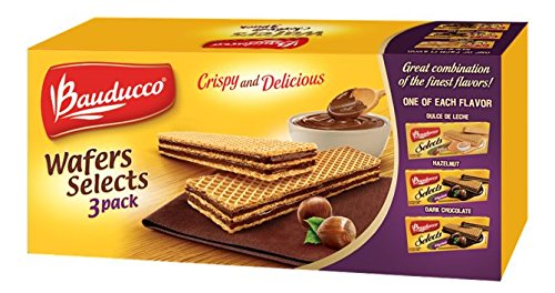 Chocolate Flavored Wafers (Bauducco Wafer Selects 3 Pack - Hazelnut, Dulce de Leche & Dark Chocolate, 17.47 oz. Boxes of Delicious Uniquely Flavored Wafer Cookies (1 - 3 Pack))