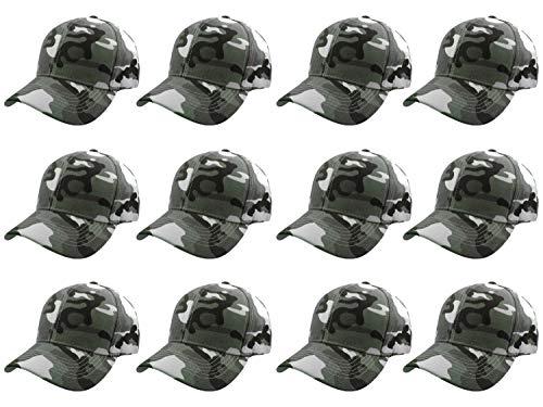 Gelante Plain Blank Baseball Caps Adjustable Back Strap Wholesale LOT 12 PC'S 001-GreenCamo-12PC