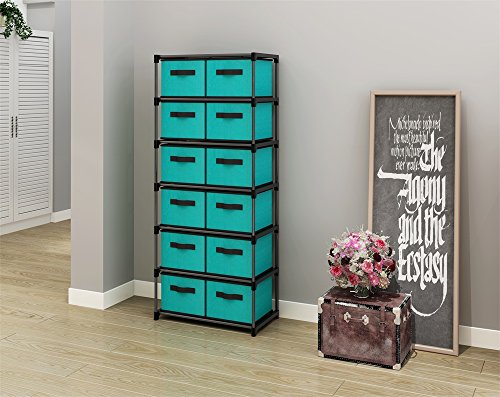 12 Drawer Chest - MULSH 12-Drawer Storage Chest Shelf Storage Cabinet Organizer Units With 12 Removable Non-woven Fabric Bins in Turquoise,20.67