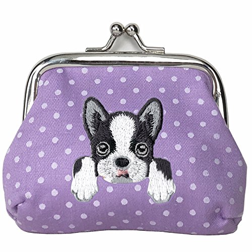 Terrier Wallet - [ BOSTON TERRIER ] Cute Embroidered Puppy Dog Buckle Coin Purse Wallet [ Purple Polka Dots ]