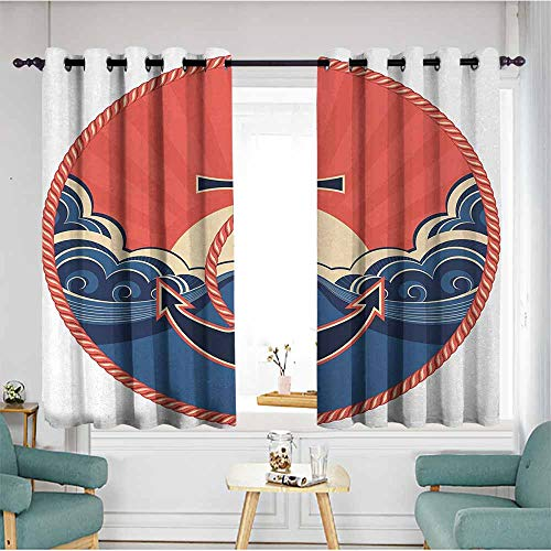 (duommhome Anchor Kids Room Curtains Navy Label with Robe and Sea Waves at Sunset Anchor Retro Aquatic Life Icons 70%-80% Light Shading, 2 Panels,72