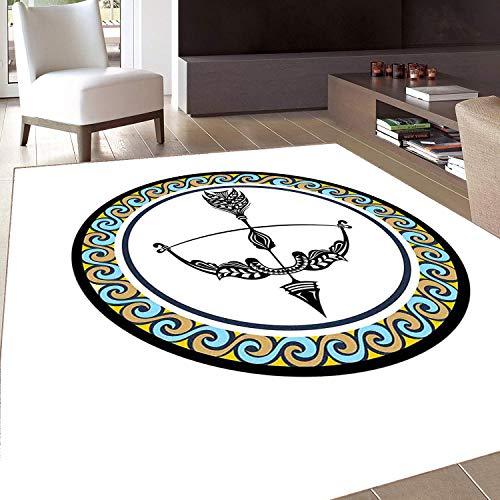 Rug,FloorMatRug,Zodiac Sagittarius,AreaRug,Victorian Inspired Bow and Arrow Design with Colorful Curves and Swirls,Home mat,4'x6'Multicolor,RubberNonSlip,Indoor/FrontDoor/KitchenandLivingRoom