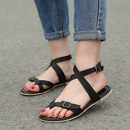 Zapatos Estilo LuckyGirls Playa Planos Romano Zapatillas Cruzado Negro Cómodo 34 Chancleta Casual de Mujer Moda 42 Chanclas Sandalias Vacaciones Verano AFA6p