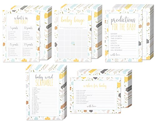 Set of 5 Baby Shower Game Card Packs for Boy or Girl Unisex Gender Neutral for 50 Guest Supplies - Including Bingo, Word Scramble, and Well Wishes - 50 Sheets Each Activity - 5 x 7 Inches