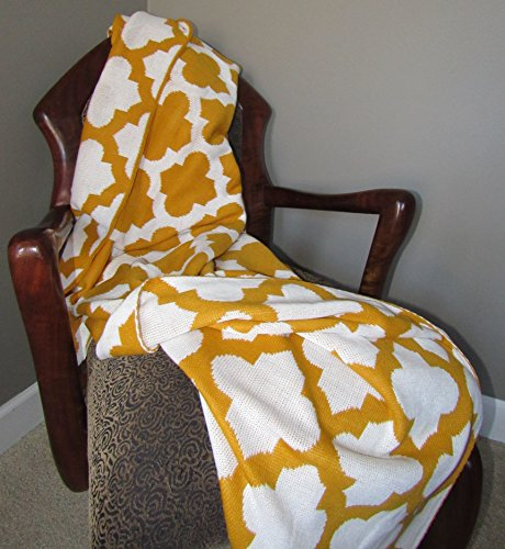 Yellow Trellis Knitted Throw Blanket