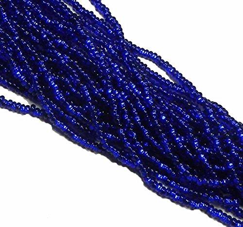 Cobalt Blue Silver Lined Czech 8/0 Glass Seed Beads 1 Full 12 Strand Hank Preciosa Jablonex