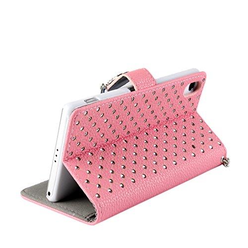 Vandot 2 in1 Accesorios Set funda carcasa de cuero Rhinestone cubierta 1X 3D cristalina clara transparente caja del teléfono para Smartphone Android Sony Xperia Z2 (13,2 cm (5,2 pul) cuero del diamant Chain Pink