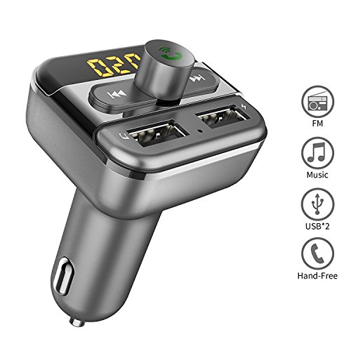 Bluetooth FM Transmitter for Car, TOMPOL Bluetooth Car Adapter with Dual USB Port and Hands-free Calling for iPhone Samsung, Smartphone